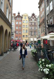 me, walking through one of the many streets in Gdansk, Poland